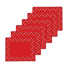 Xmas Polka Dots Hardboard Placemat Set of 6