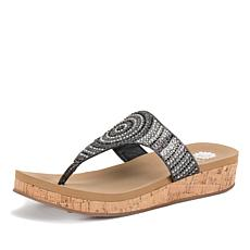 Yellow Box Cadenza Leather Embellished Thong Sandal