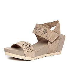 Yellow Box Denisha Lasercut Leather Wedge Sandal