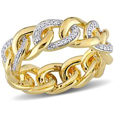 Yellow Gold-Plated Sterling Silver .25ctw Diamond Link Band Ring