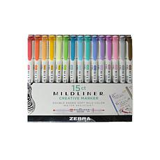 Zebra Pens Mildliner Double-Ended Highlighter Set of 15, Assorted