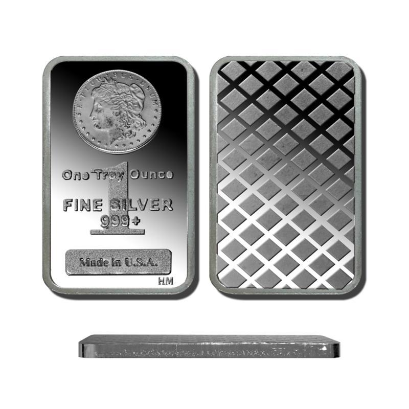 1 Troy oz. 99.9% Silver Bar with Morgan Dollar Design