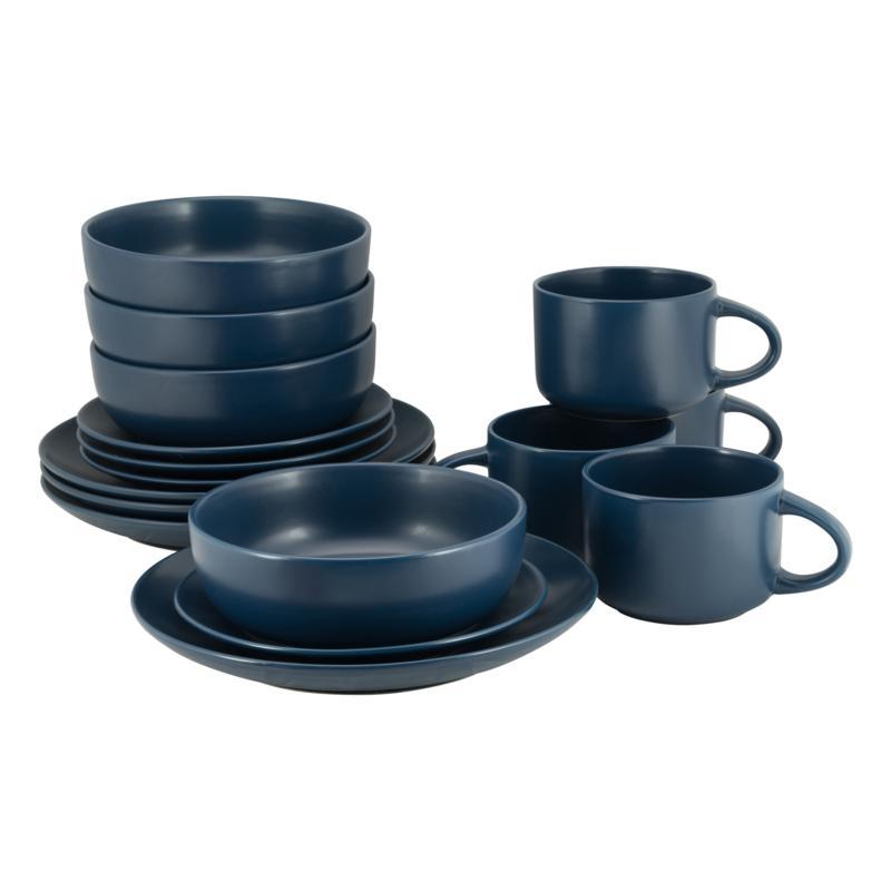 10 Strawberry Street Wazee Matte 16-piece Coupe Dinnerware Set