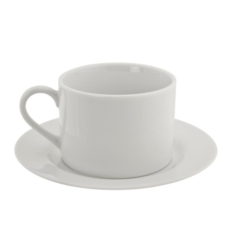 10 Strawberry Street White Can 6 oz. Cup and Saucer - 6