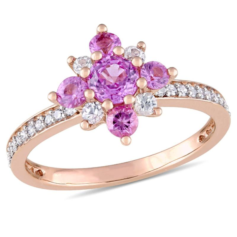 1.01ctw Pink and White Sapphire and Diamond 14K Ring