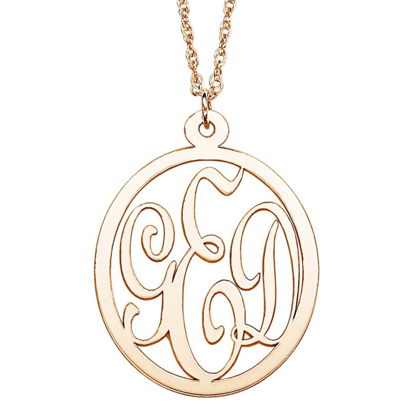 """10K Gold 3-Initial Monogram Pendant with 18"""" Chain"""