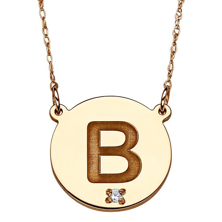 10K Gold Engraved Initial & Diamond Accent Necklace