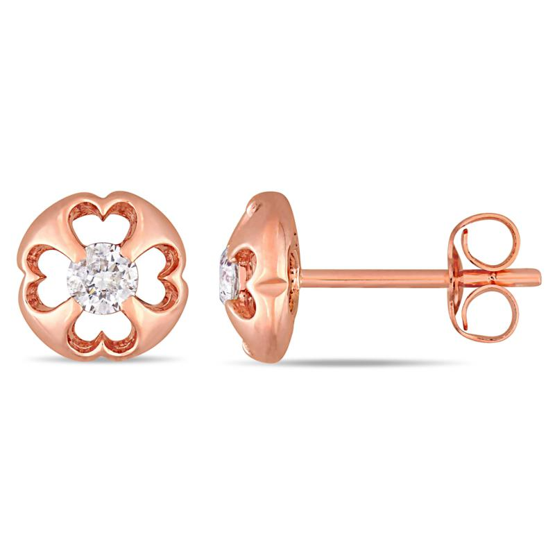10K Rose Gold 0.25ct Diamond Post Stud Earrings