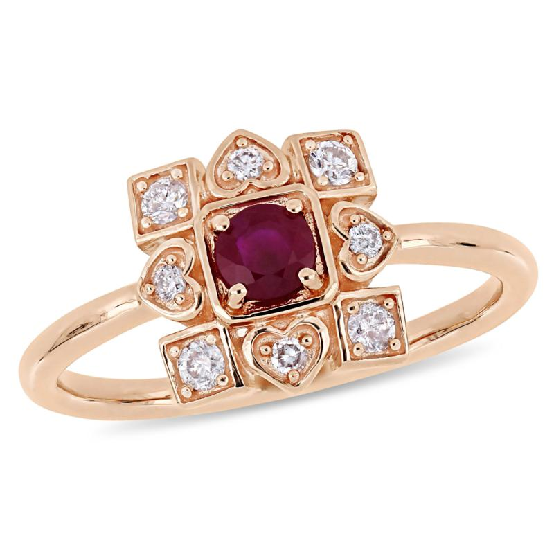 10K Rose Gold .55ctw Ruby and Diamond Cocktail Ring