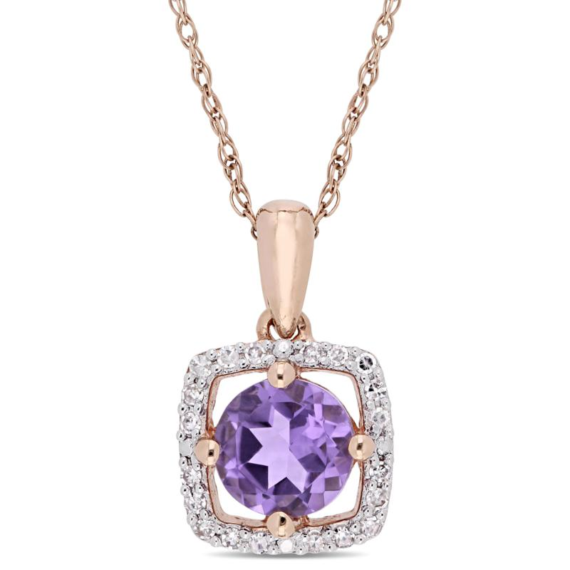 10K Rose Gold .75ctw Amethyst and Diamond Halo Pendant with Chain