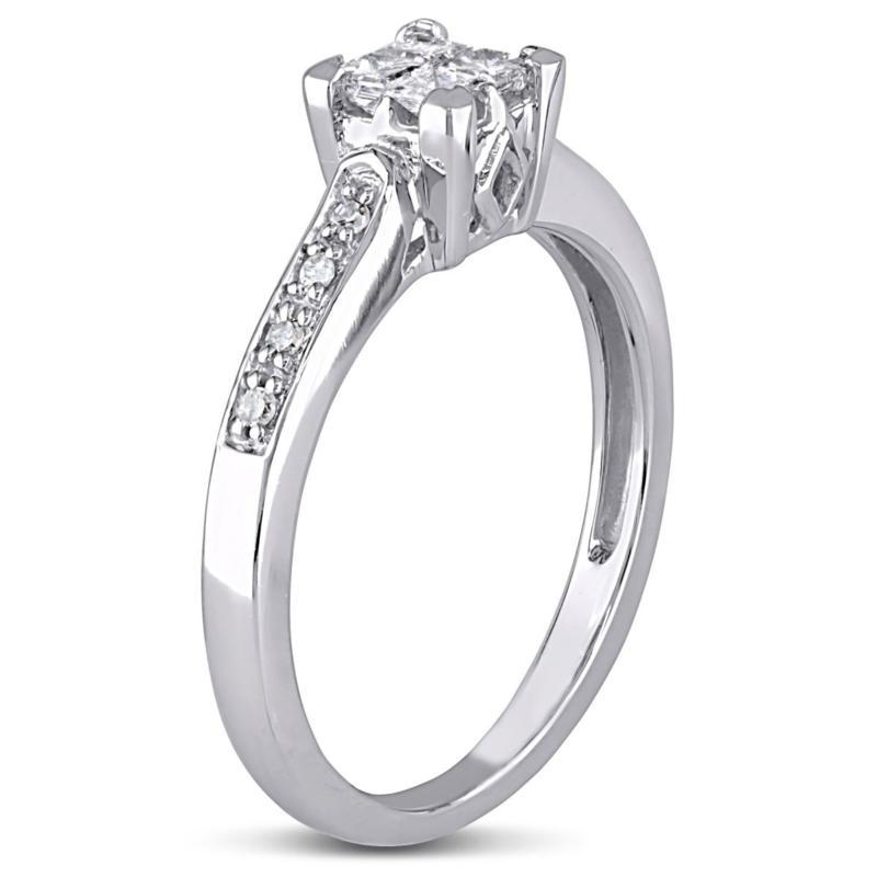 10K White Gold 0.25ctw White Diamond Engagement Ring