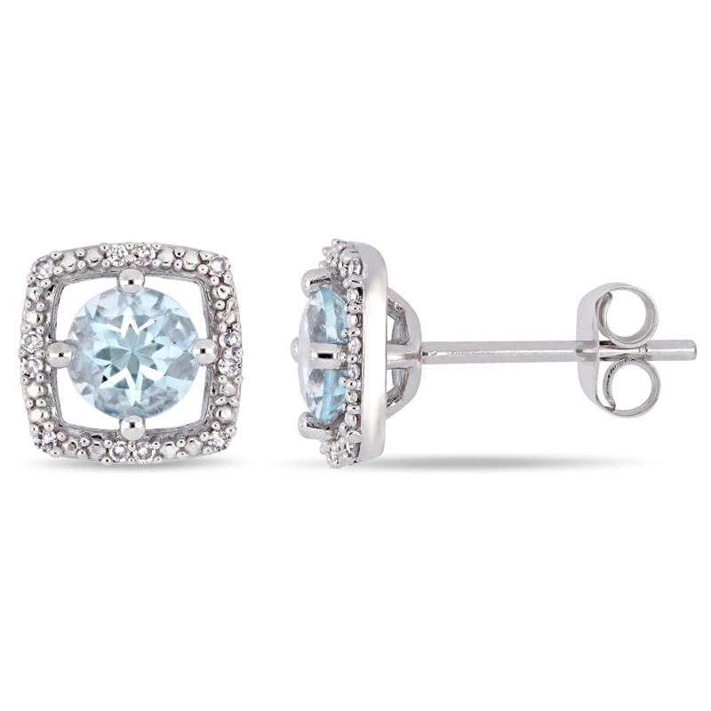 10K White Gold 0.87ctw Aquamarine and Diamond Halo Stud Earrings