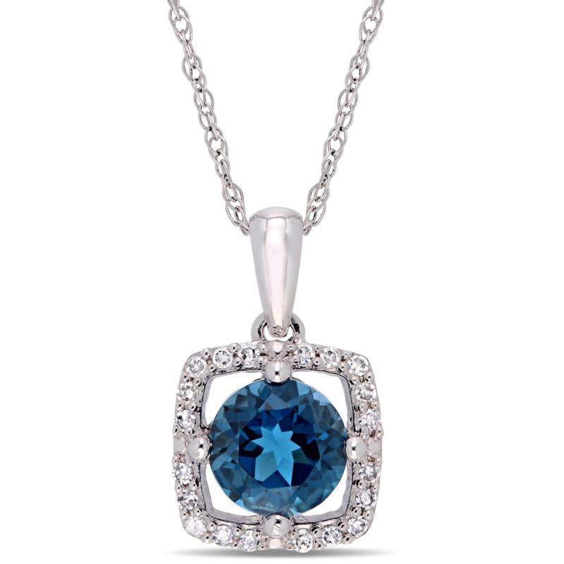 10K White Gold 1.10ctw London Blue Topaz and Diamond Halo Pendant
