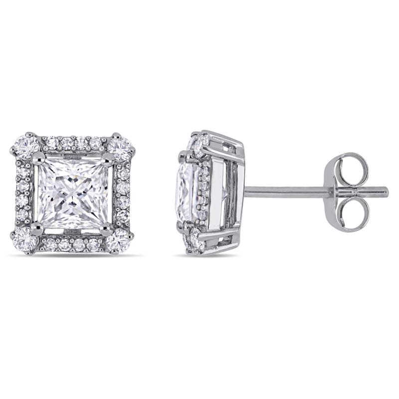10K White Gold 1.55ctw Moissanite and 0.125ctw Diamond Stud Earrings