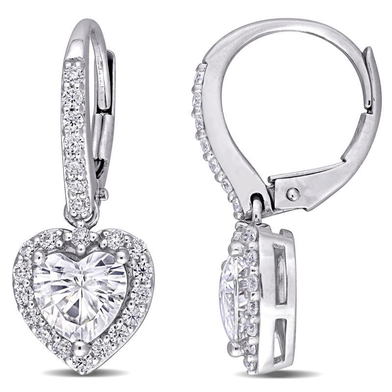 10K White Gold 2.41ctw Moissanite Halo Heart Leverback Earrings