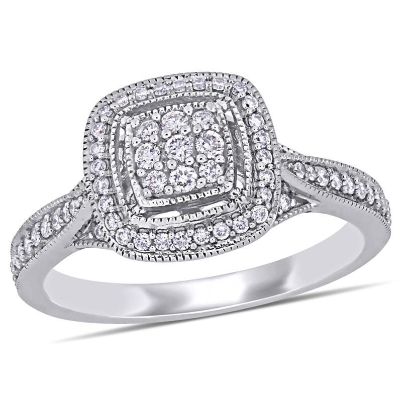 10K White Gold .33ctw Diamond Pavé Milgrain Engagement Ring