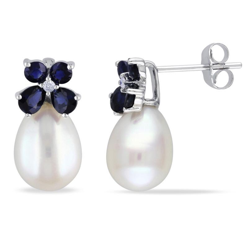 10K White Gold 8-8.5mm Freshwater Pearl Earrings