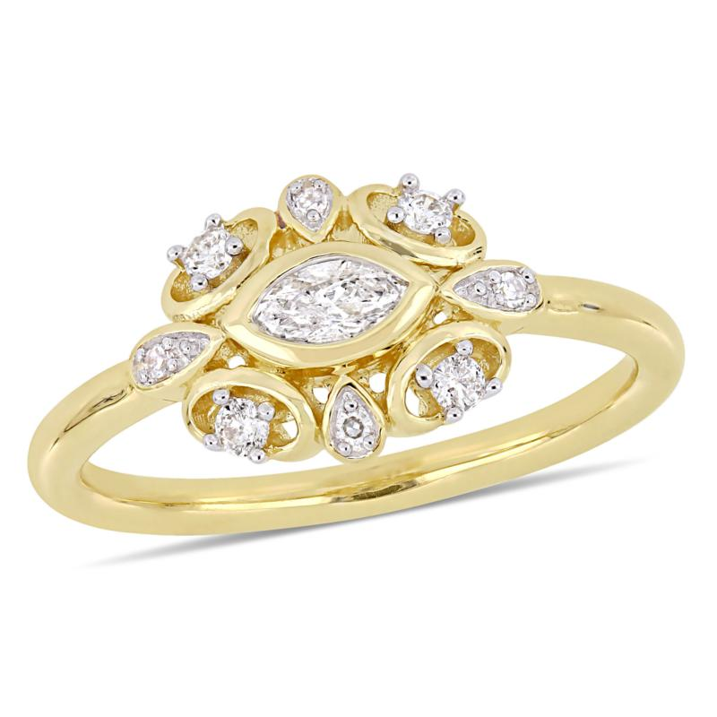 10K Yellow Gold 0.26ctw  Diamond Cocktail Ring