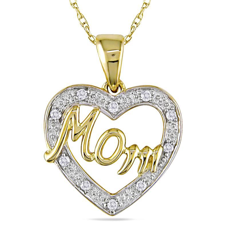 "10K Yellow Gold and Diamond Heart-Shaped ""Mom"" Pendant"