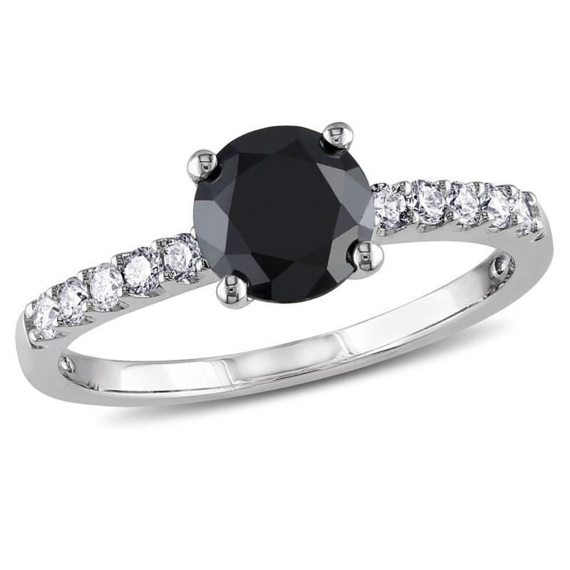 14K Gold 1.23ctw Black & White Diamond Engagement Ring