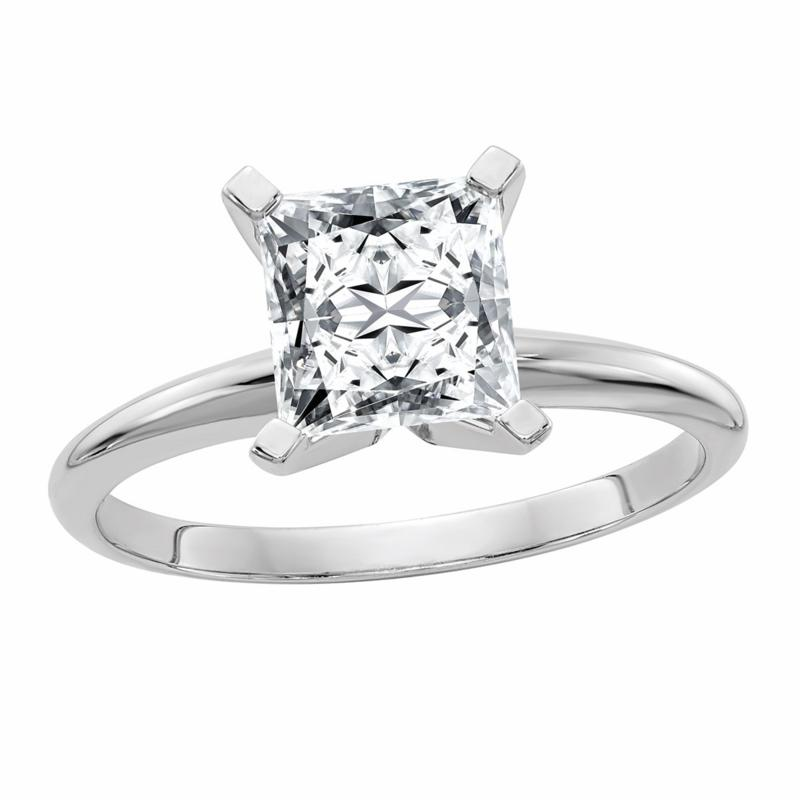14K Gold 2.10ct Moissanite Princess-Cut Solitaire Ring