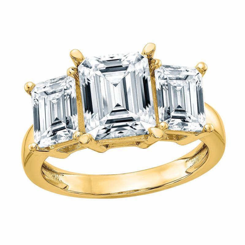 14K Gold 2.91ctw Moissanite Emerald-Cut Three-Stone Engagement Ring