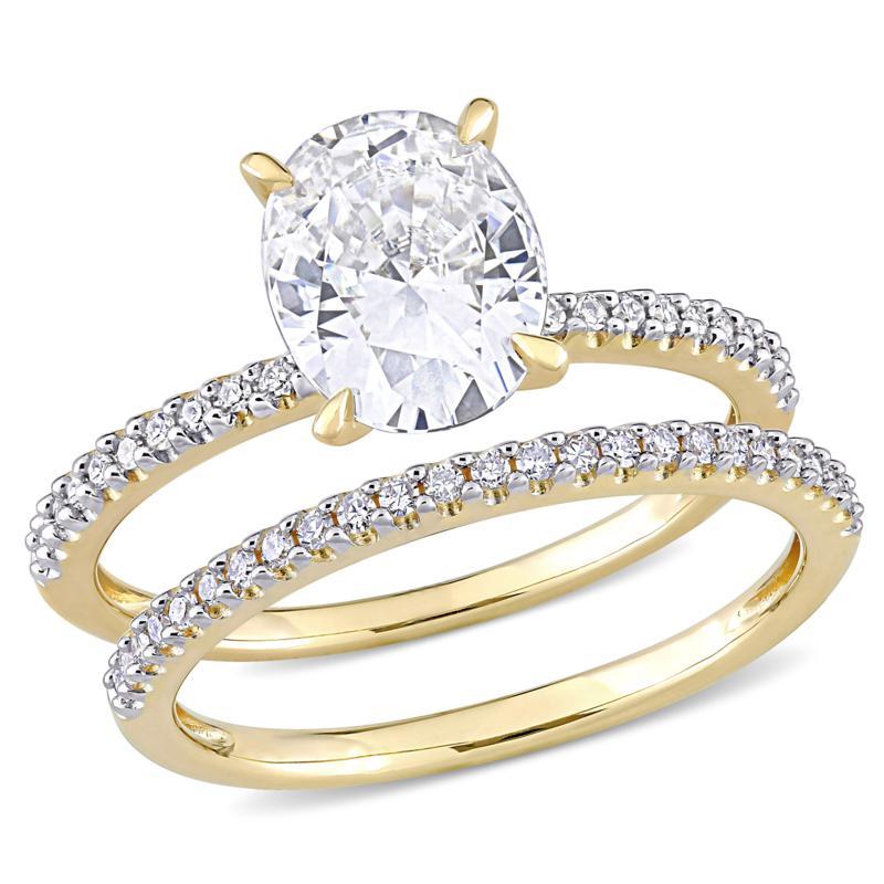 14K Gold 2ctw Moissanite and .23ctw Diamond Oval 2pc Bridal Ring Set
