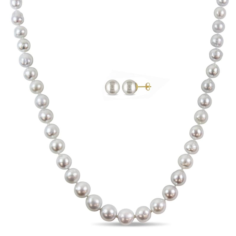 14K Gold 9-11mm South Sea Cultured Pearl Necklace and Earrings Set