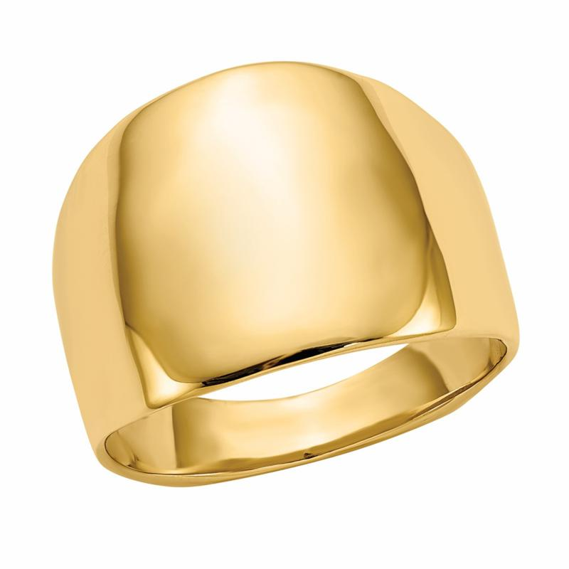 14K Gold Polished Squared Dome Ring