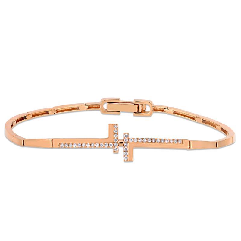 "14K Rose Gold 0.18ctw Diamond Bypass Bar 7"" Bracelet"
