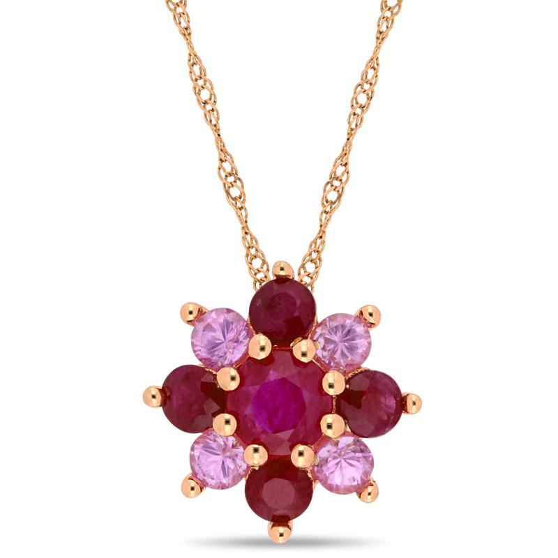 14K Rose Gold Ruby and Pink Sapphire Clustered Star Pendant Necklace