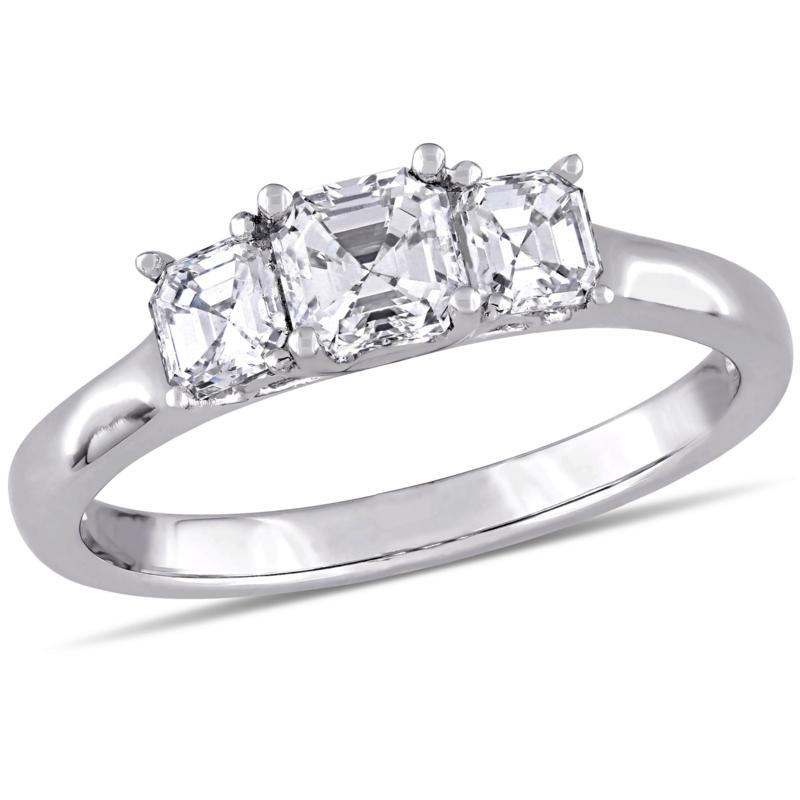 14K White Gold 1ctw 3-Stone Asscher-Cut Diamond Engagement Ring