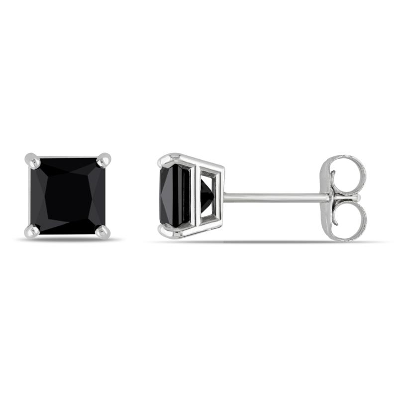 14K White Gold 1ctw Black Diamond Princess-Cut Studs