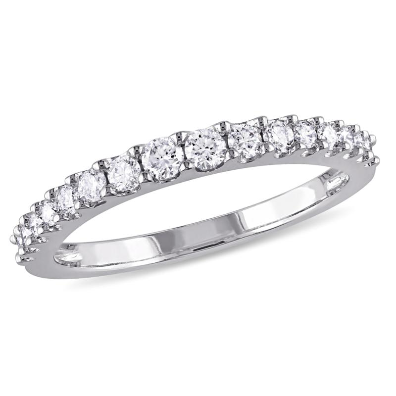 14K White Gold .38ctw White Diamond Wedding Band Ring