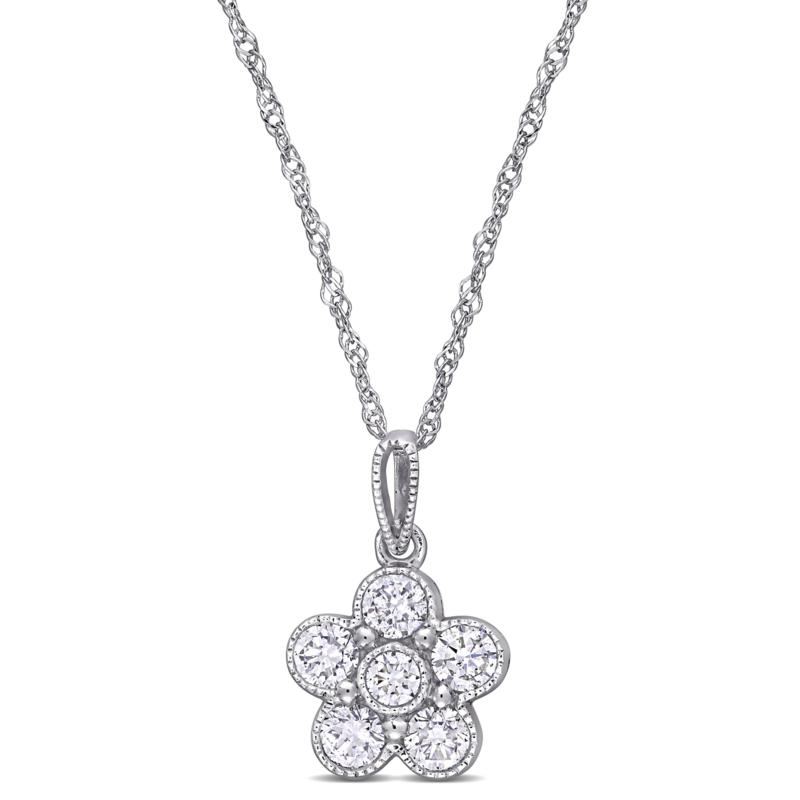 "14K White Gold .50ctw Diamond Flower Pendant with 18"" Chain"
