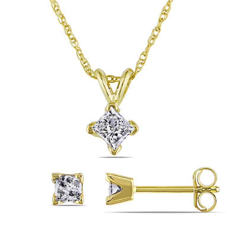 14K Yellow Gold 0.65ctw Diamond Princess-Cut Earrings and Pendant