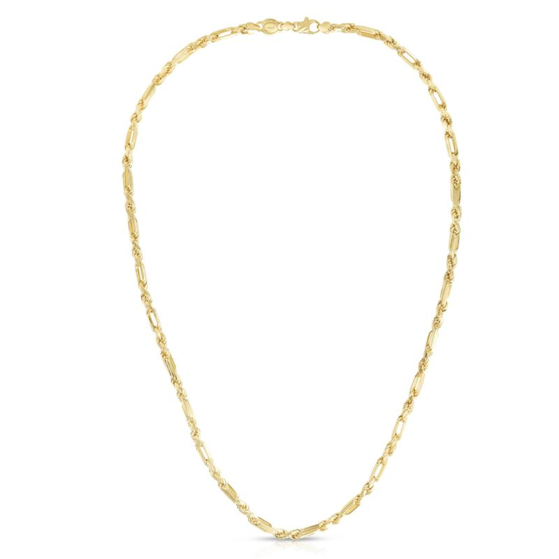 """14K Yellow Gold 4.3mm Figarope Chain Necklace - 24"""""""