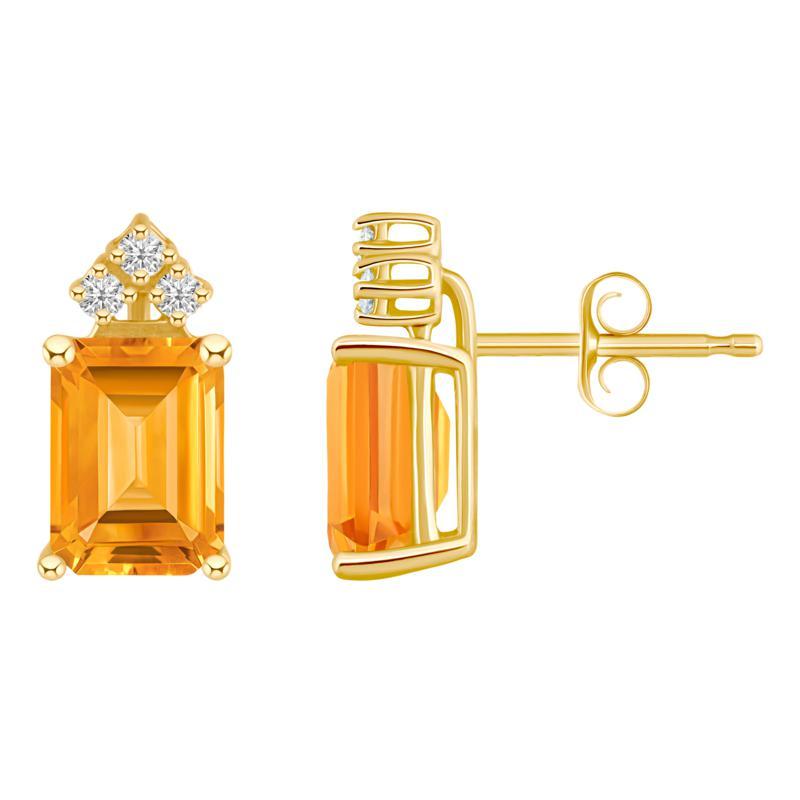 14K Yellow Gold Gemstone and Diamond 8x6mm Emerald-Cut Stud Earrings