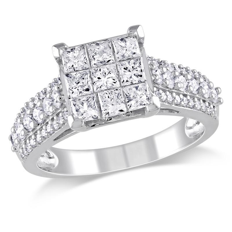 1.5ctw Princess and Round White Diamond Cocktail Ring