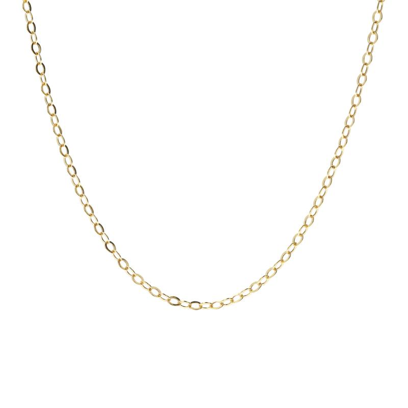 """18"""" 14K Gold Hollow Flat Rolo Chain"""
