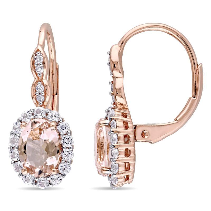 2.28ctw Pink Morganite and Gem 14K Earrings