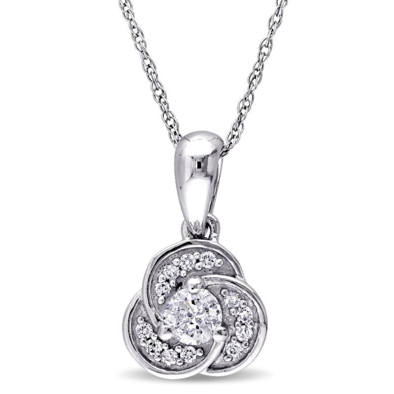 .32ctw Diamond 10K White Gold Semi-Swirl Pendant