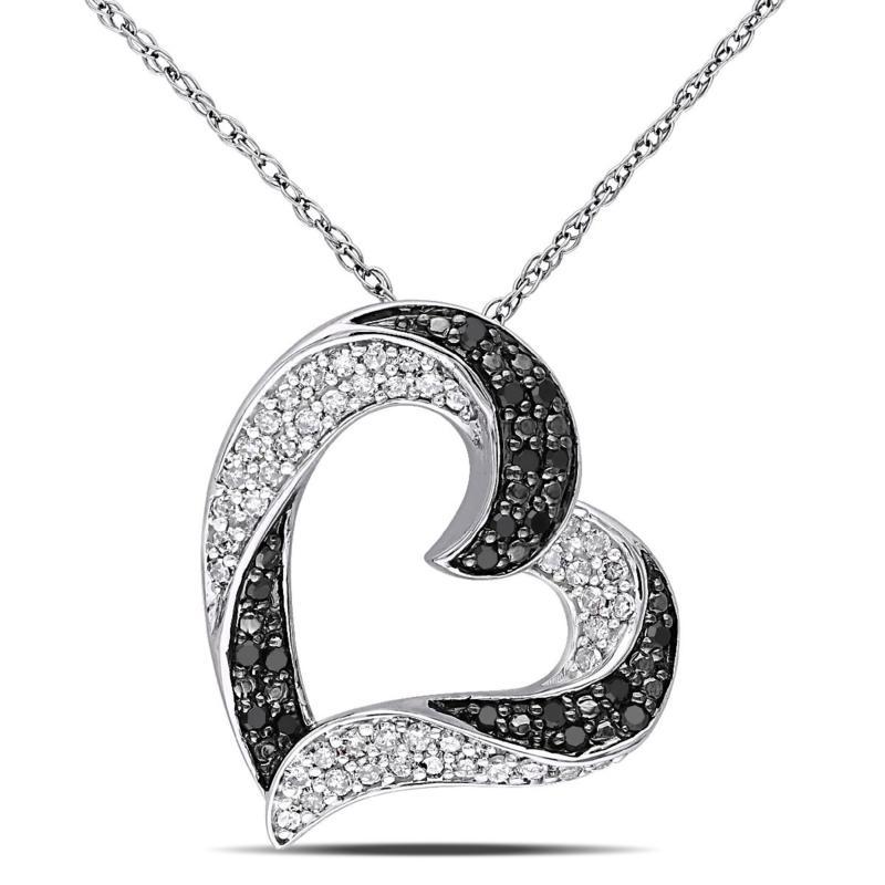 .33ctw Black and White Diamond  Ribbon Heart Pendant