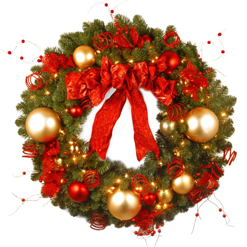 "36"" Decorative Coll. Cozy Wreath w/Lights"