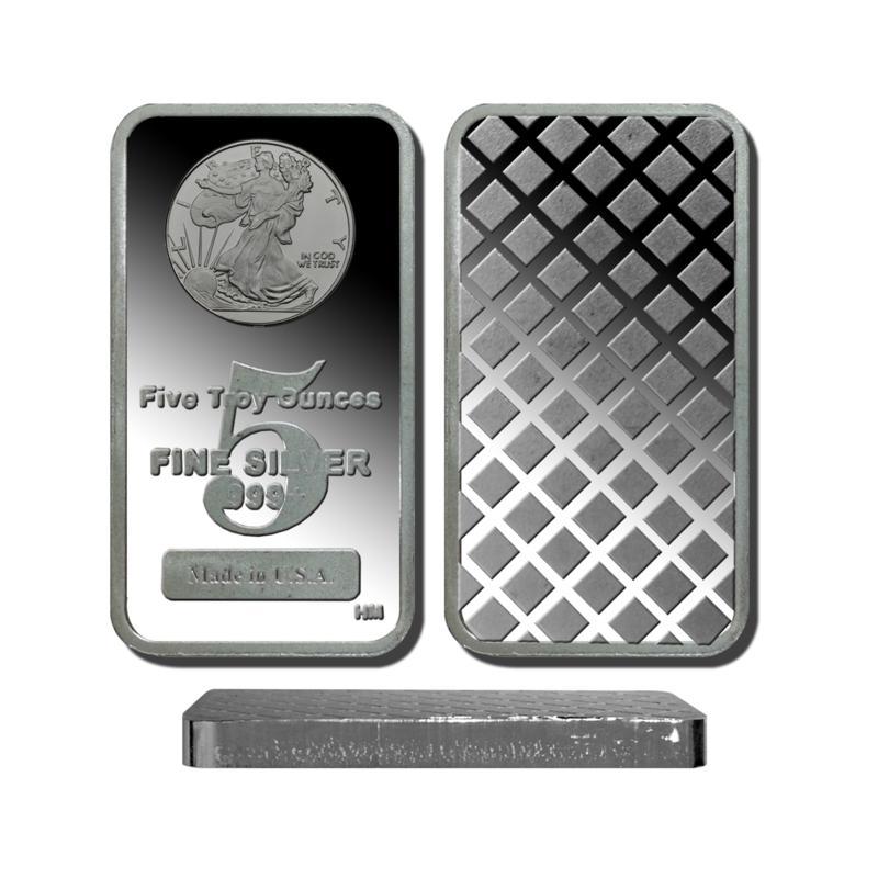 5 Troy oz. 99.9% Silver Bar w/Walking Liberty Design