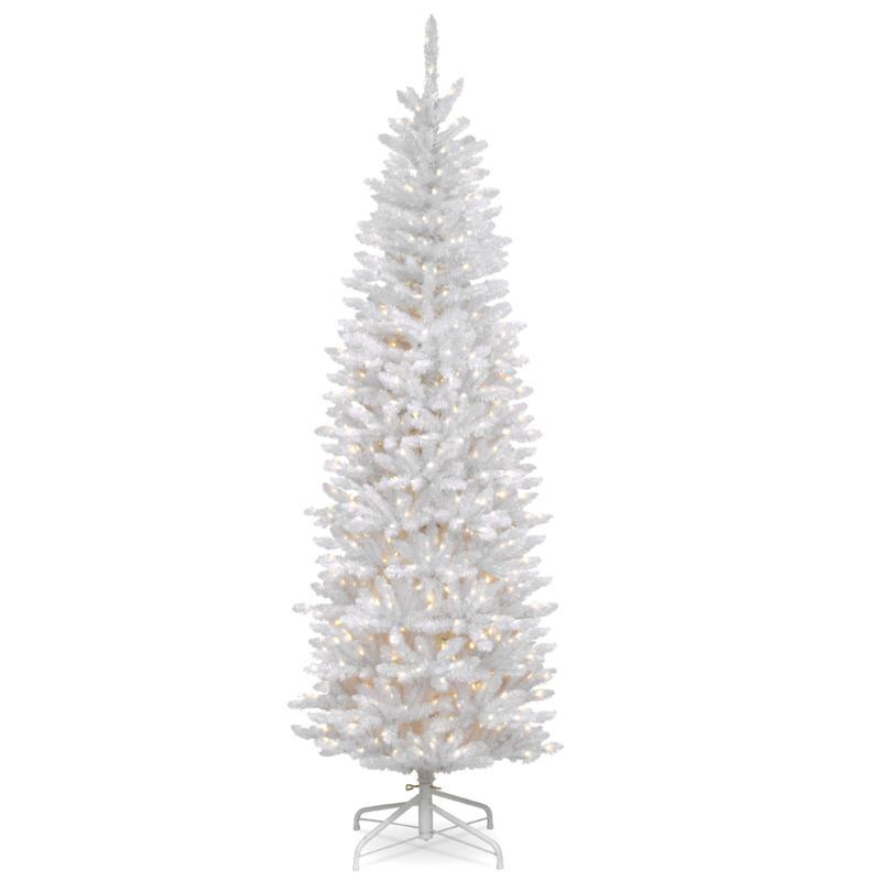 7' Kingswood White Fir Pencil Tree w/Lights