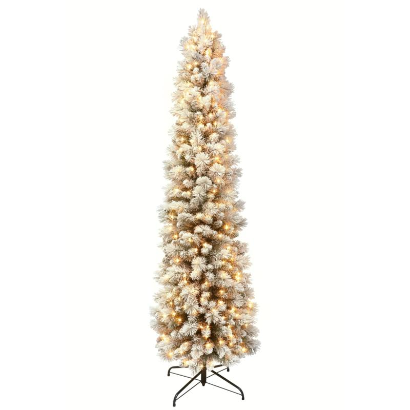 7.5' Flocked Pencil Pine Artificial Christmas Tree - 350 Clear Lights