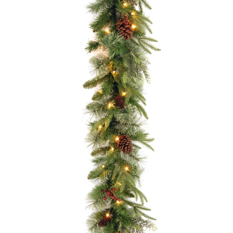 """9' Colonial """"Feel Real"""" Garland w/Lights"""