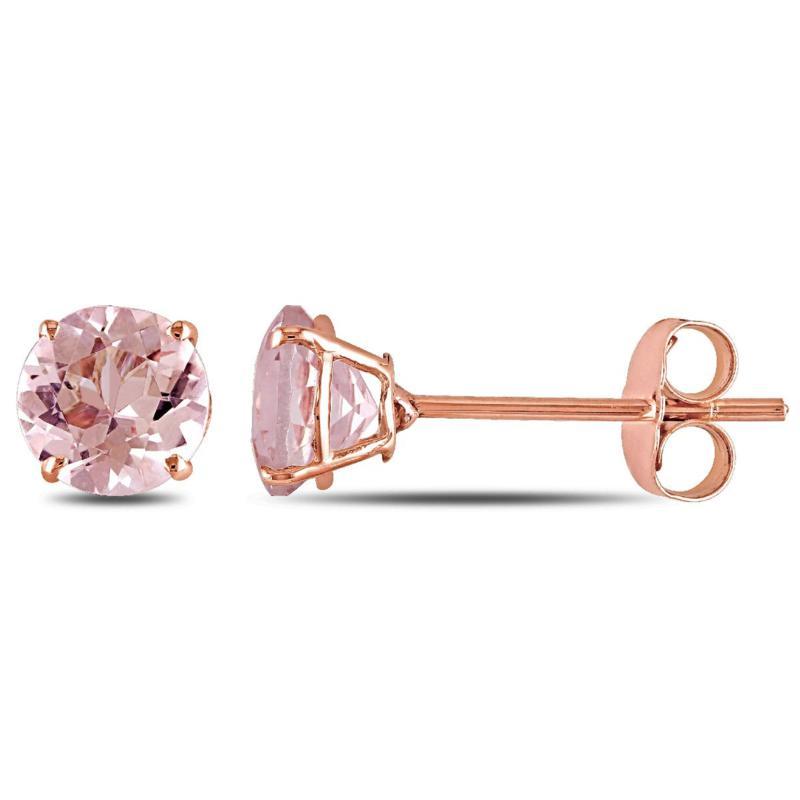 .96ctw Pink Morganite 10K  Round Earrings