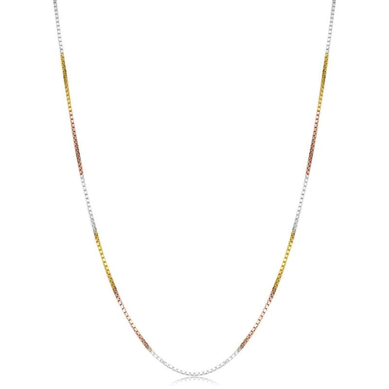"""A&M Tri-Color Gold Embraced™ Sterling Silver 16"""" Box Chain Necklace"""